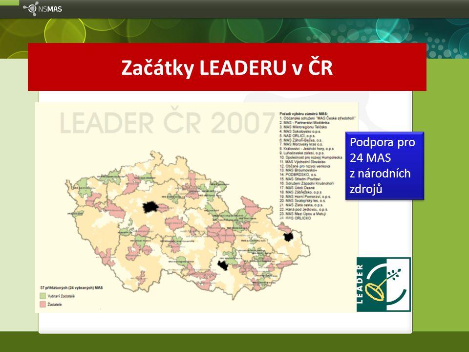 Začátky LEADERU v ČR Podpora pro 24 MAS z národních zdrojů Podpora pro 24 MAS z národních zdrojů