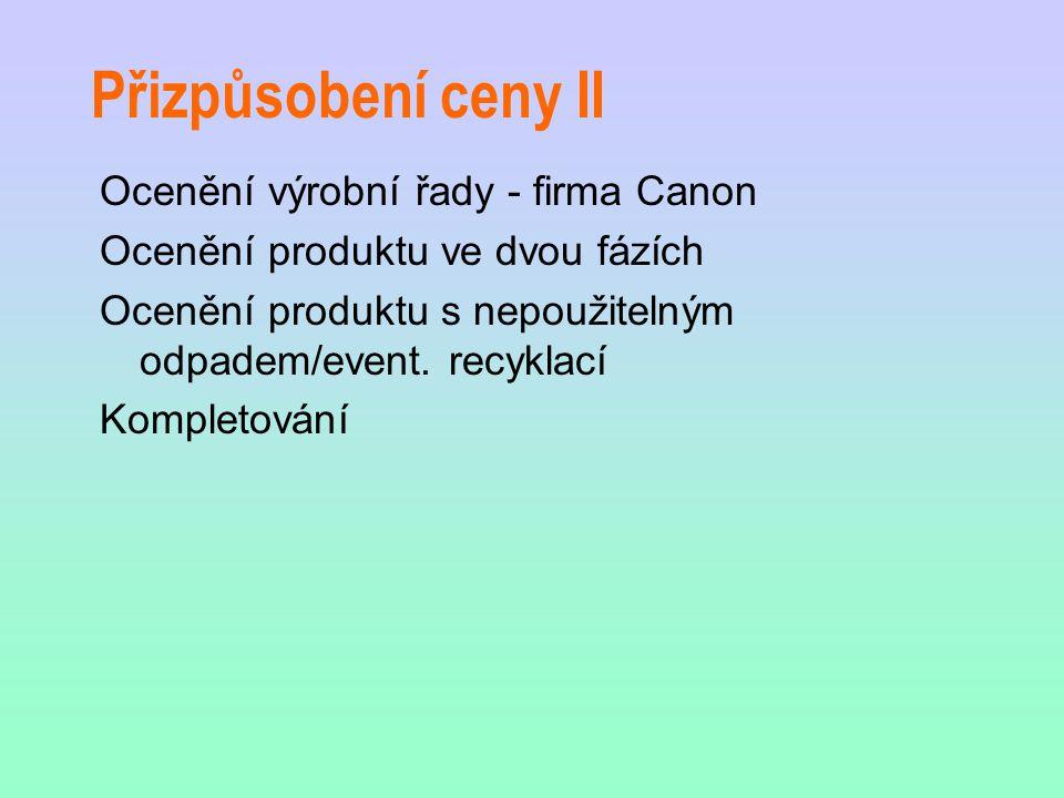 Přizpůsobení ceny II Ocenění výrobní řady - firma Canon Ocenění produktu ve dvou fázích Ocenění produktu s nepoužitelným odpadem/event.