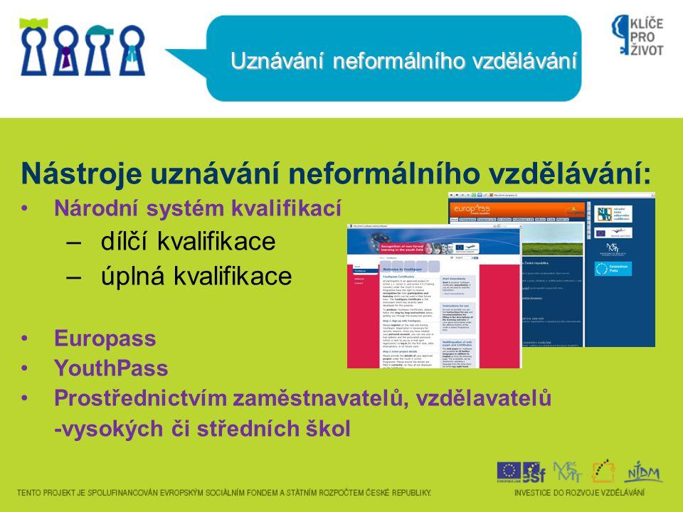 Uznávání neformálního vzdělávání Nástroje uznávání neformálního vzdělávání: Národní systém kvalifikací –dílčí kvalifikace –úplná kvalifikace Europass