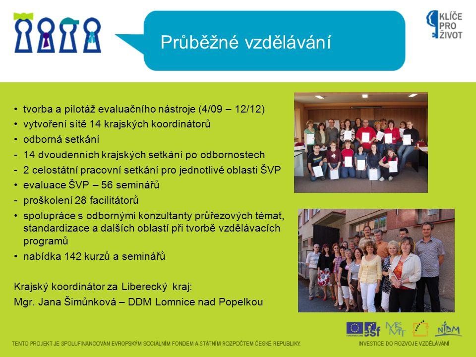 Průběžné vzdělávání tvorba a pilotáž evaluačního nástroje (4/09 – 12/12) vytvoření sítě 14 krajských koordinátorů odborná setkání -14 dvoudenních kraj