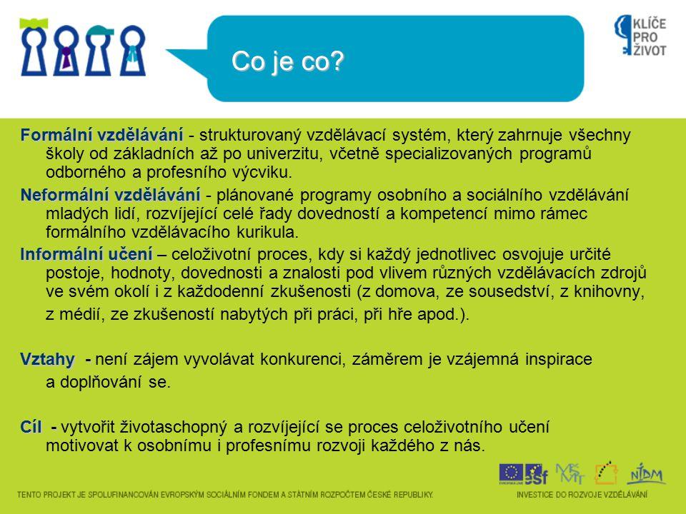 Co je co? Formální vzdělávání Formální vzdělávání - strukturovaný vzdělávací systém, který zahrnuje všechny školy od základních až po univerzitu, včet
