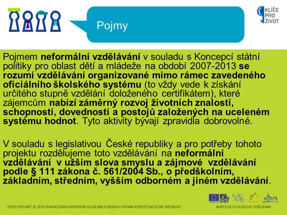 Pojmy Pojmem neformální vzdělávání v souladu s Koncepcí státní politiky pro oblast dětí a mládeže na období 2007-2013 se rozumí vzdělávání organizovan