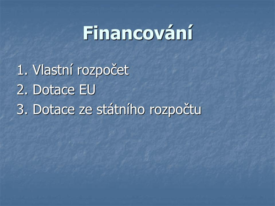 Financování 1. Vlastní rozpočet 2. Dotace EU 3. Dotace ze státního rozpočtu