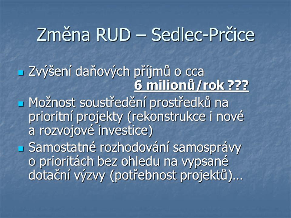 Změna RUD – Sedlec-Prčice Zvýšení daňových příjmů o cca 6 milionů/rok ??? Zvýšení daňových příjmů o cca 6 milionů/rok ??? Možnost soustředění prostřed