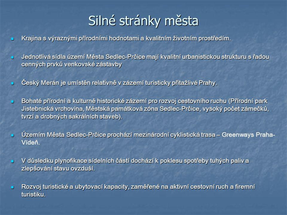Silné stránky města Krajina s výraznými přírodními hodnotami a kvalitním životním prostředím. Krajina s výraznými přírodními hodnotami a kvalitním živ