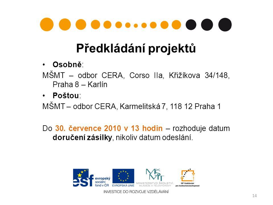 Předkládání projektů Osobně: MŠMT – odbor CERA, Corso IIa, Křižíkova 34/148, Praha 8 – Karlín Poštou: MŠMT – odbor CERA, Karmelitská 7, 118 12 Praha 1 Do 30.