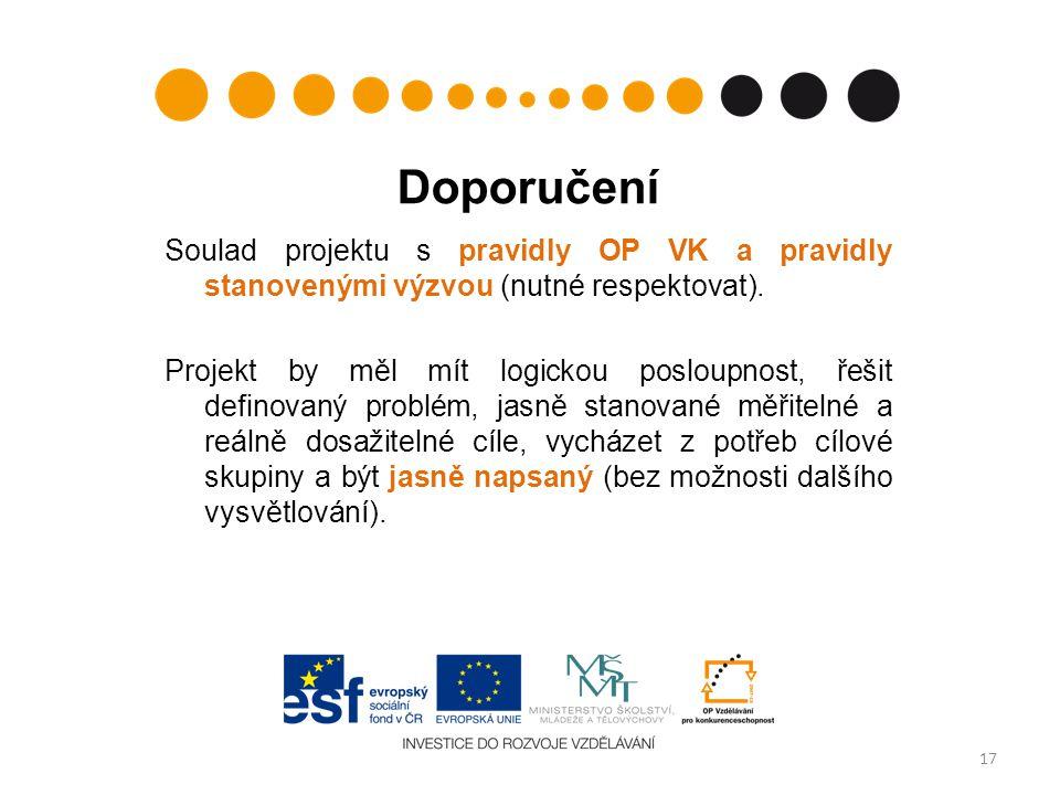 Doporučení Soulad projektu s pravidly OP VK a pravidly stanovenými výzvou (nutné respektovat).