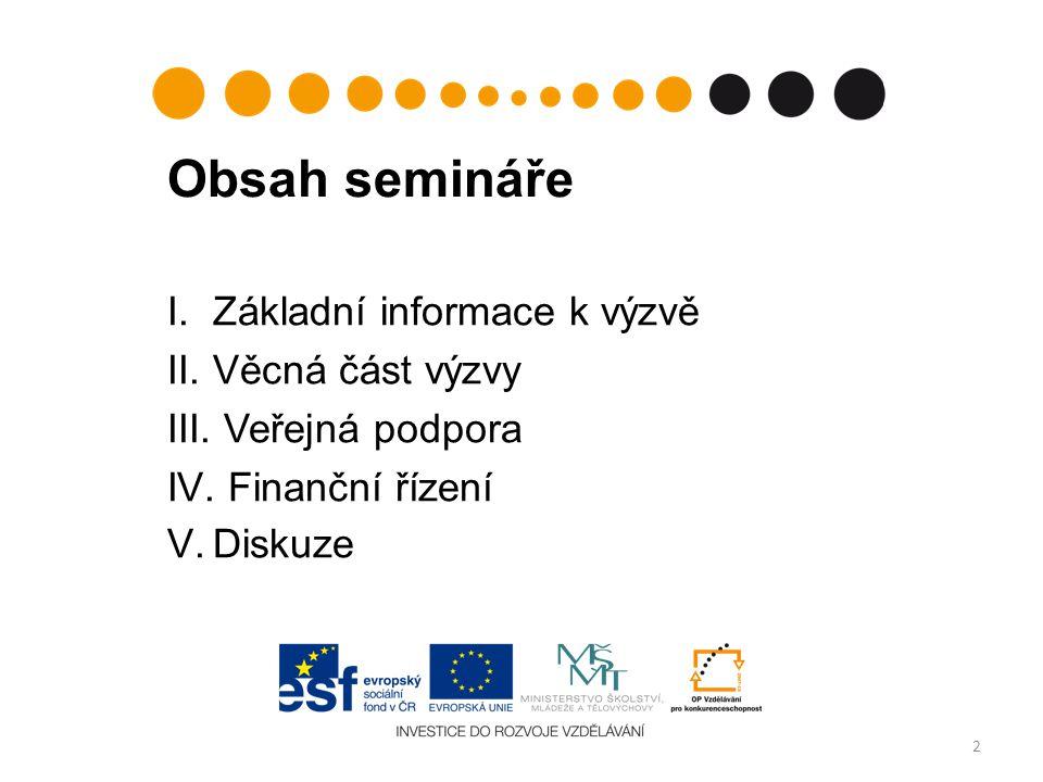 Obsah semináře I.Základní informace k výzvě II.Věcná část výzvy III.