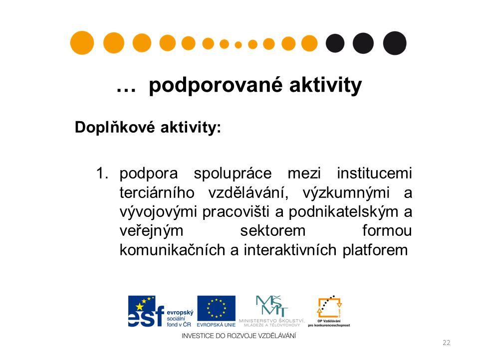 … podporované aktivity Doplňkové aktivity: 1.