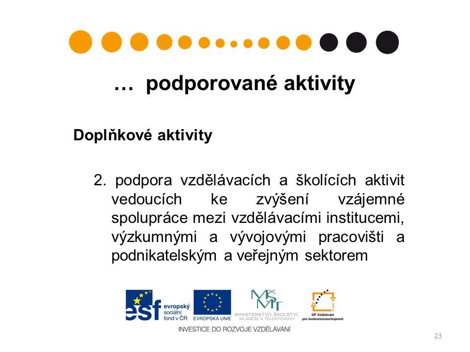… podporované aktivity Doplňkové aktivity 2.