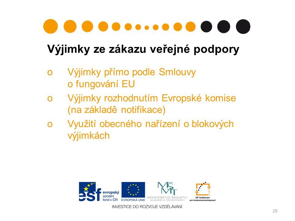 Výjimky ze zákazu veřejné podpory oVýjimky přímo podle Smlouvy o fungování EU oVýjimky rozhodnutím Evropské komise (na základě notifikace) oVyužití obecného nařízení o blokových výjimkách 29