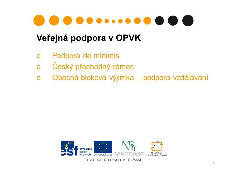 Veřejná podpora v OPVK oPodpora de minimis oČeský přechodný rámec oObecná bloková výjimka – podpora vzdělávání 31