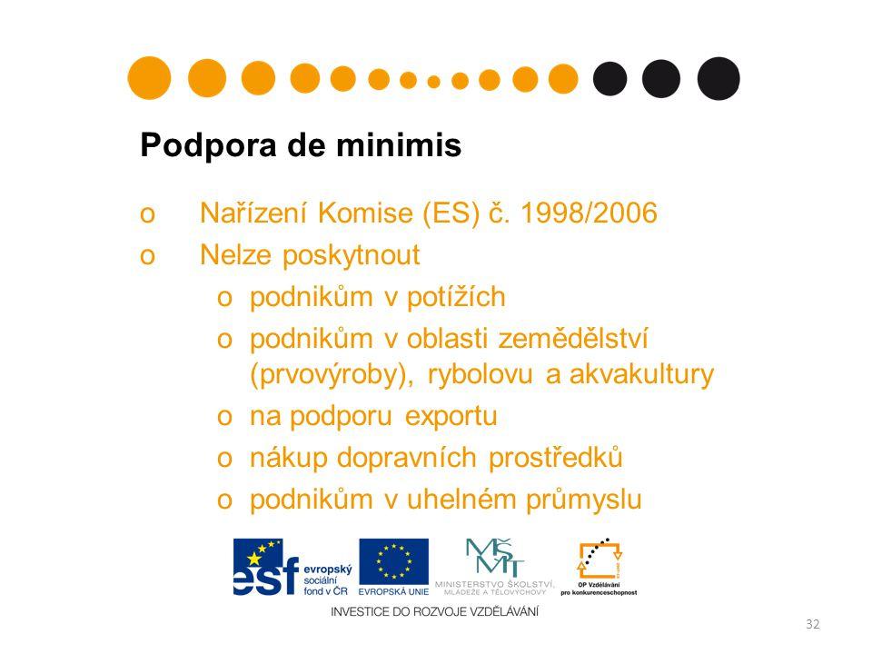 Podpora de minimis oNařízení Komise (ES) č.