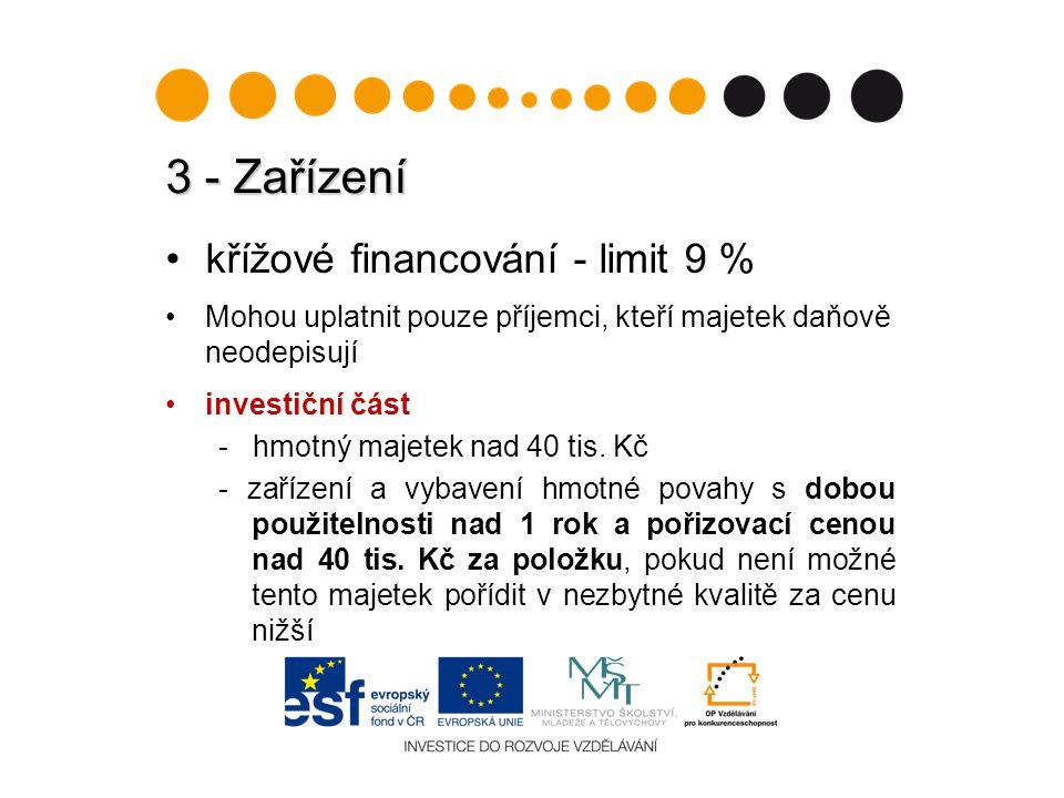 3 - Zařízení křížové financování - limit 9 % Mohou uplatnit pouze příjemci, kteří majetek daňově neodepisují investiční část - hmotný majetek nad 40 tis.