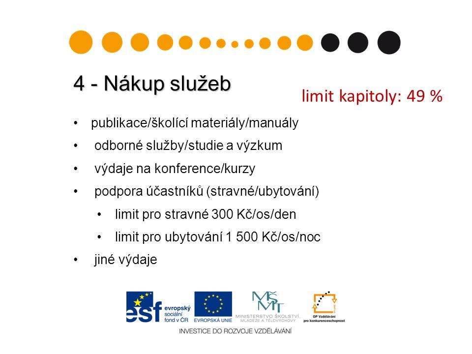 4 - Nákup služeb publikace/školící materiály/manuály odborné služby/studie a výzkum výdaje na konference/kurzy podpora účastníků (stravné/ubytování) limit pro stravné 300 Kč/os/den limit pro ubytování 1 500 Kč/os/noc jiné výdaje limit kapitoly: 49 %