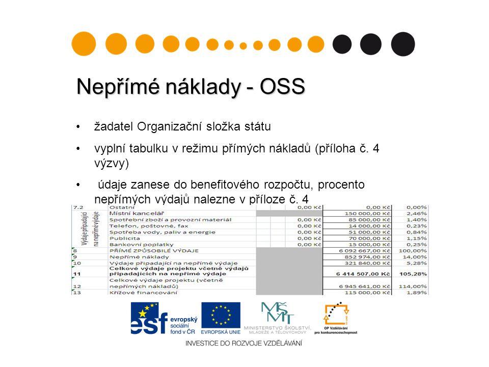 Nepřímé náklady - OSS žadatel Organizační složka státu vyplní tabulku v režimu přímých nákladů (příloha č.
