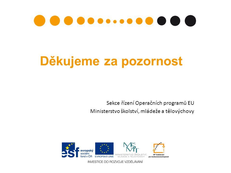 Děkujeme za pozornost Sekce řízení Operačních programů EU Ministerstvo školství, mládeže a tělovýchovy