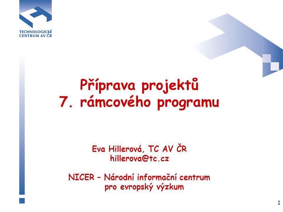 1 Příprava projektů 7. rámcového programu Eva Hillerová, TC AV ČR hillerova@tc.cz NICER – Národní informační centrum pro evropský výzkum