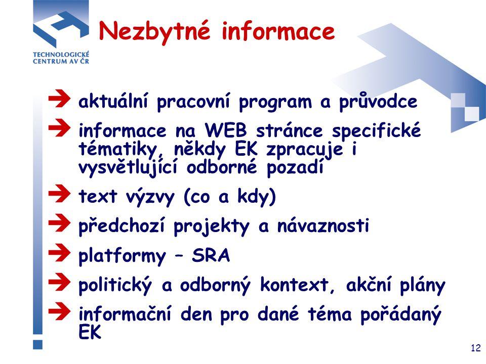 12 Nezbytné informace  aktuální pracovní program a průvodce  informace na WEB stránce specifické tématiky, někdy EK zpracuje i vysvětlující odborné