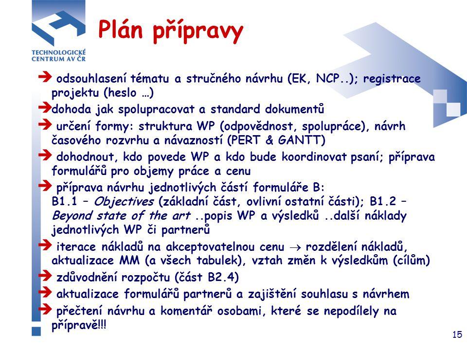 15 Plán přípravy  odsouhlasení tématu a stručného návrhu (EK, NCP..); registrace projektu (heslo …)  dohoda jak spolupracovat a standard dokumentů 