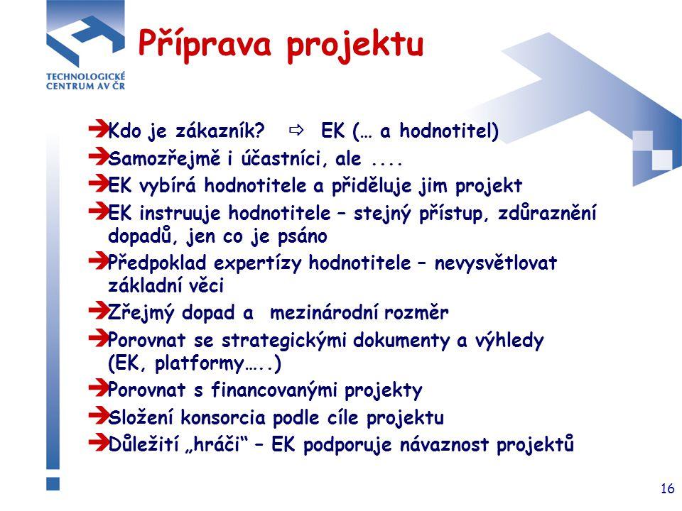 16 Příprava projektu  Kdo je zákazník?  EK (… a hodnotitel)  Samozřejmě i účastníci, ale....  EK vybírá hodnotitele a přiděluje jim projekt  EK i