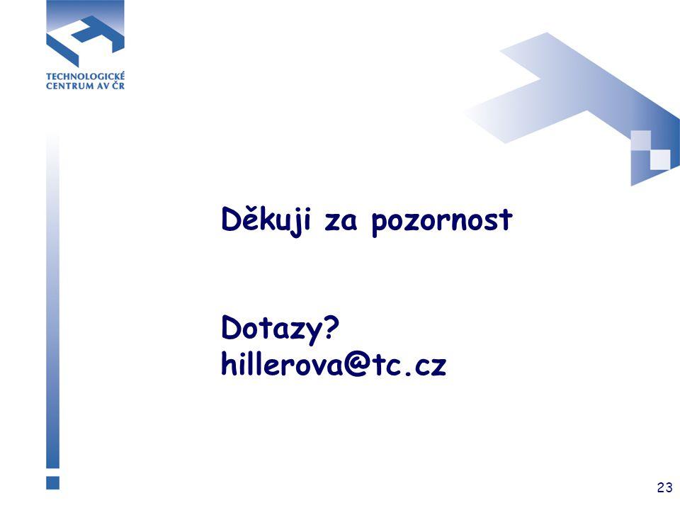 23 Děkuji za pozornost Dotazy? hillerova@tc.cz
