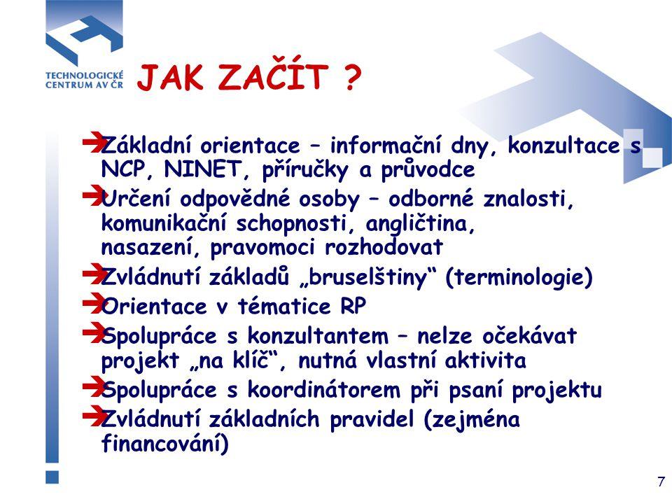 7 JAK ZAČÍT ?  Základní orientace – informační dny, konzultace s NCP, NINET, příručky a průvodce  Určení odpovědné osoby – odborné znalosti, komunik