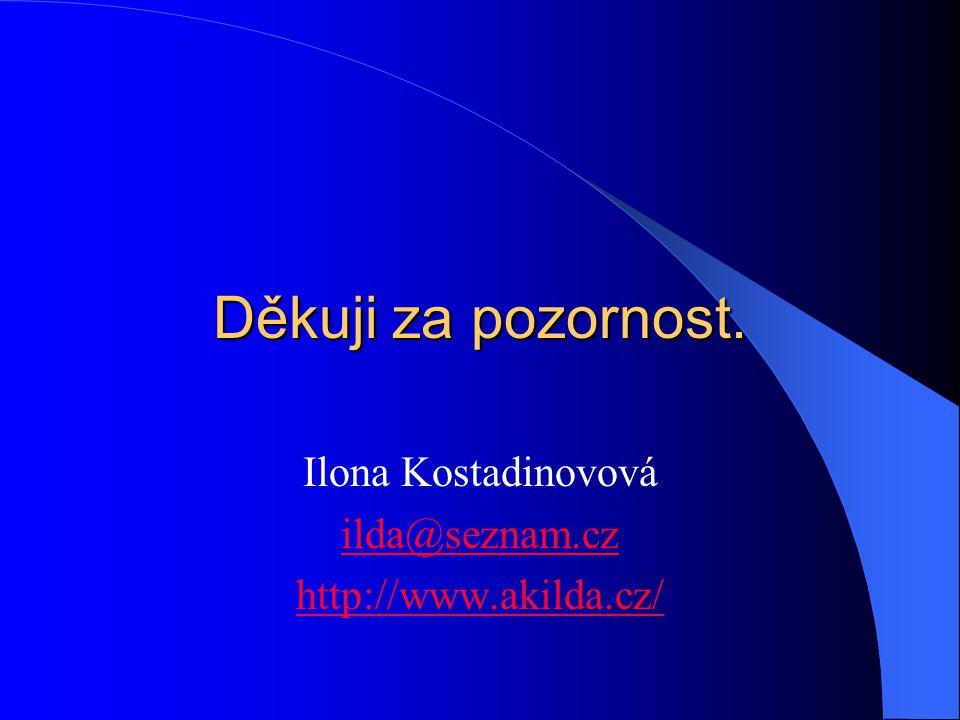 Děkuji za pozornost. Ilona Kostadinovová ilda@seznam.cz http://www.akilda.cz/