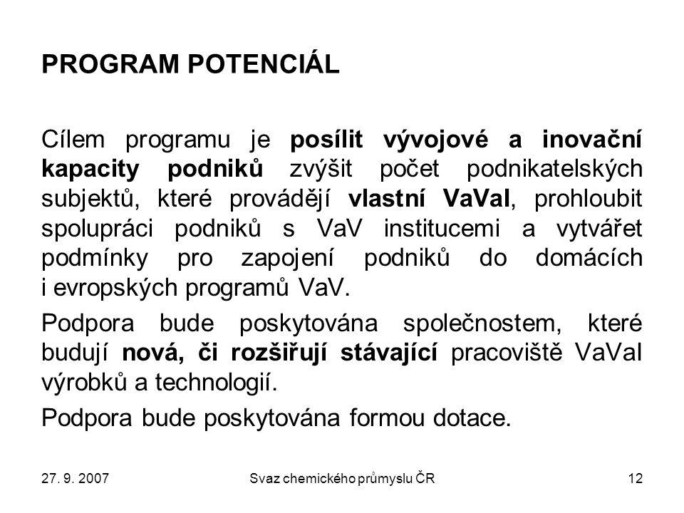 27. 9. 2007Svaz chemického průmyslu ČR12 PROGRAM POTENCIÁL Cílem programu je posílit vývojové a inovační kapacity podniků zvýšit počet podnikatelských