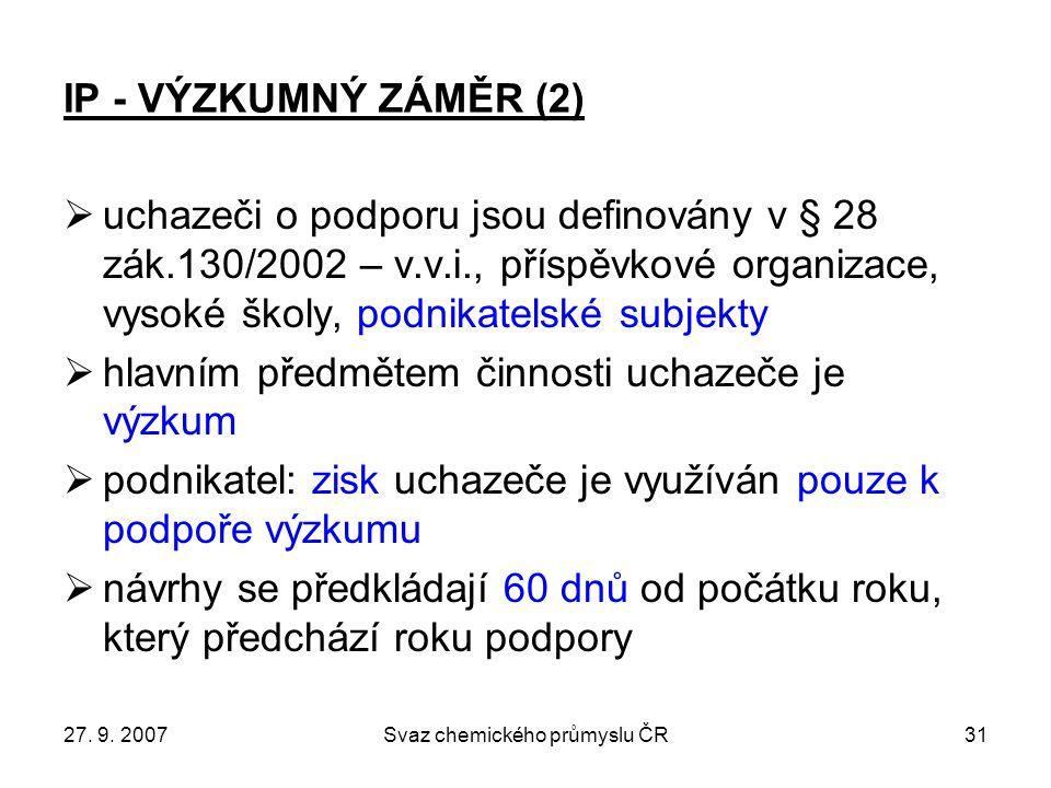 27. 9. 2007Svaz chemického průmyslu ČR31 IP - VÝZKUMNÝ ZÁMĚR (2)  uchazeči o podporu jsou definovány v § 28 zák.130/2002 – v.v.i., příspěvkové organi