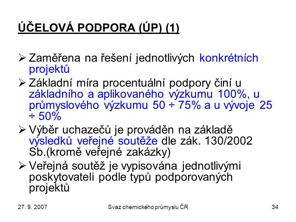 27. 9. 2007Svaz chemického průmyslu ČR34 ÚČELOVÁ PODPORA (ÚP) (1)  Zaměřena na řešení jednotlivých konkrétních projektů  Základní míra procentuální