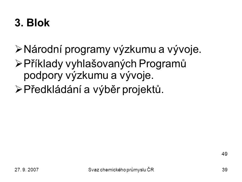 27. 9. 2007Svaz chemického průmyslu ČR39 3. Blok  Národní programy výzkumu a vývoje.