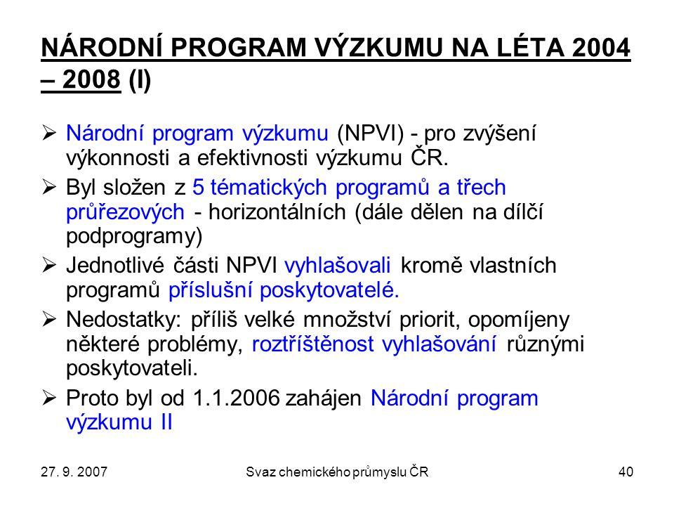 27. 9. 2007Svaz chemického průmyslu ČR40 NÁRODNÍ PROGRAM VÝZKUMU NA LÉTA 2004 – 2008 (I)  Národní program výzkumu (NPVI) - pro zvýšení výkonnosti a e