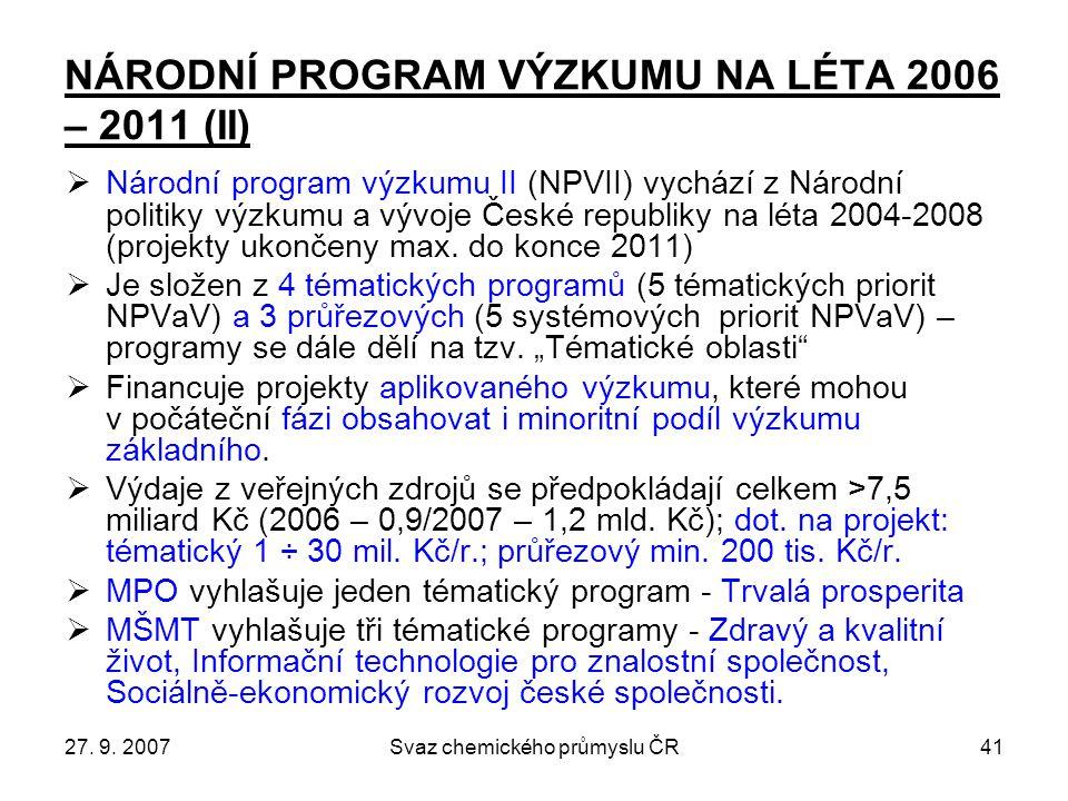 27. 9. 2007Svaz chemického průmyslu ČR41 NÁRODNÍ PROGRAM VÝZKUMU NA LÉTA 2006 – 2011 (II)  Národní program výzkumu II (NPVII) vychází z Národní polit