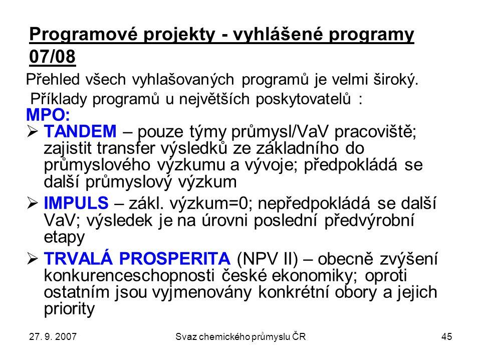 27. 9. 2007Svaz chemického průmyslu ČR45 Programové projekty - vyhlášené programy 07/08 Přehled všech vyhlašovaných programů je velmi široký. Příklady