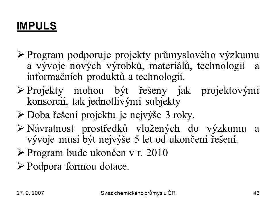 27. 9. 2007Svaz chemického průmyslu ČR46 IMPULS  Program podporuje projekty průmyslového výzkumu a vývoje nových výrobků, materiálů, technologií a in
