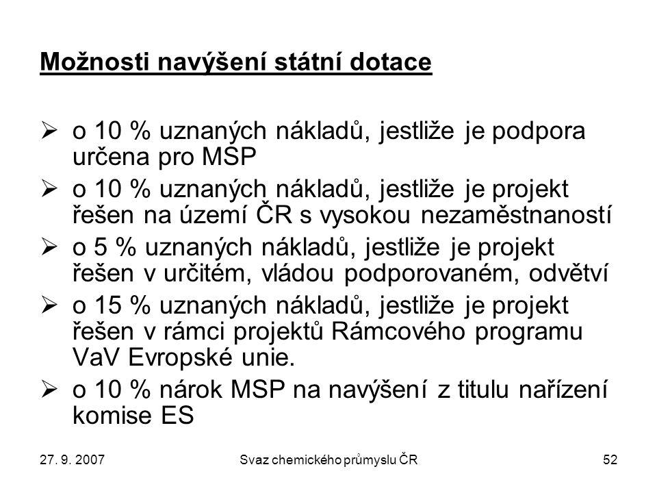27. 9. 2007Svaz chemického průmyslu ČR52 Možnosti navýšení státní dotace  o 10 % uznaných nákladů, jestliže je podpora určena pro MSP  o 10 % uznaný