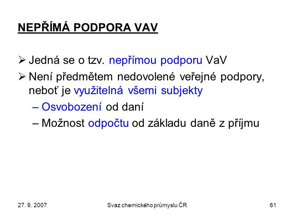 27. 9. 2007Svaz chemického průmyslu ČR61 NEPŘÍMÁ PODPORA VAV  Jedná se o tzv.