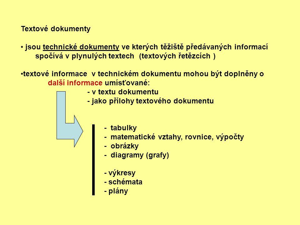Textové dokumenty jsou technické dokumenty ve kterých těžiště předávaných informací spočívá v plynulých textech (textových řetězcích ) textové informa