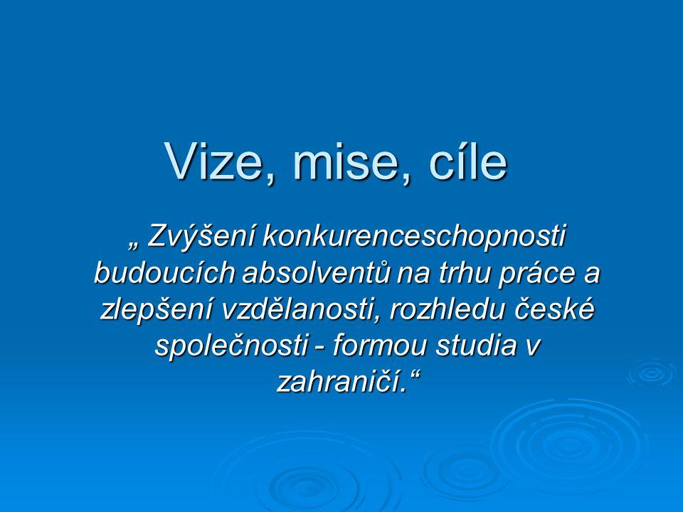 """Vize, mise, cíle """" Zvýšení konkurenceschopnosti budoucích absolventů na trhu práce a zlepšení vzdělanosti, rozhledu české společnosti - formou studia v zahraničí."""