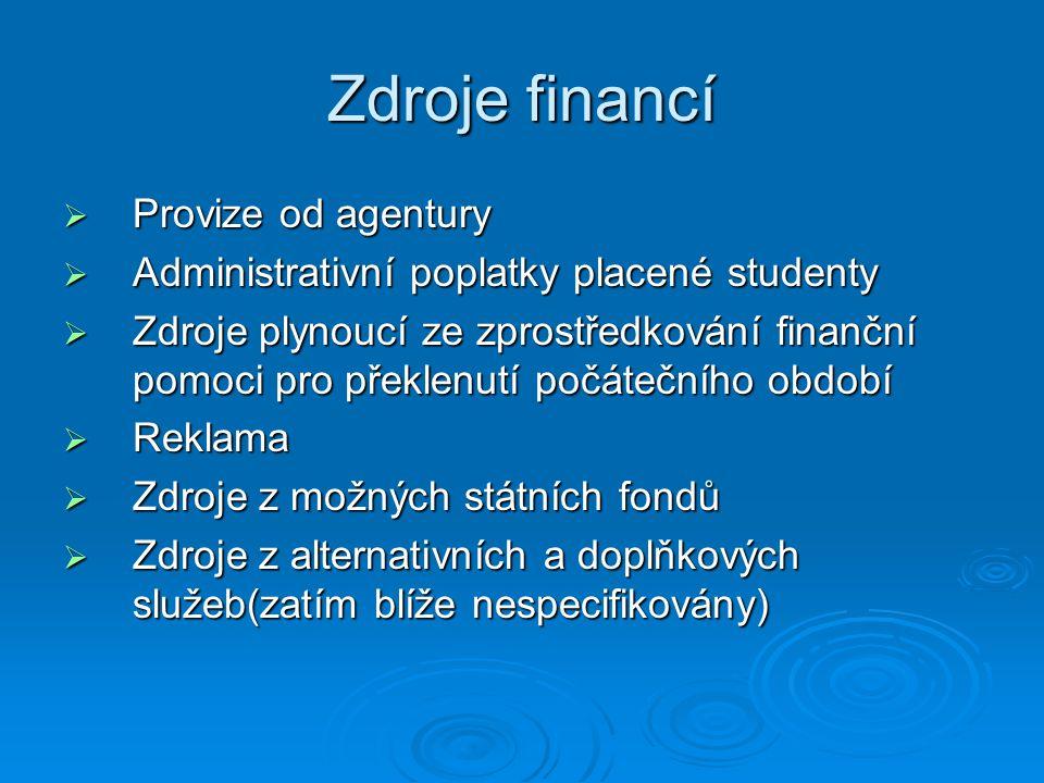 Zdroje financí  Provize od agentury  Administrativní poplatky placené studenty  Zdroje plynoucí ze zprostředkování finanční pomoci pro překlenutí p