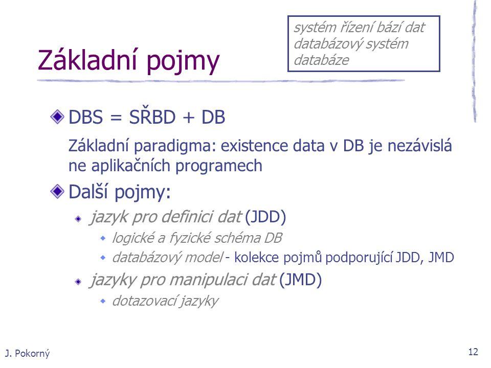J. Pokorný 12 Základní pojmy DBS = SŘBD + DB Základní paradigma: existence data v DB je nezávislá ne aplikačních programech Další pojmy: jazyk pro def