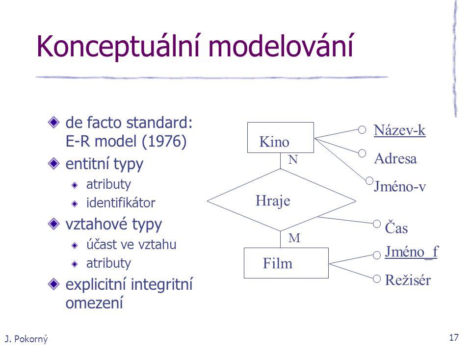 J. Pokorný 17 Konceptuální modelování de facto standard: E-R model (1976) entitní typy atributy identifikátor vztahové typy účast ve vztahu atributy e