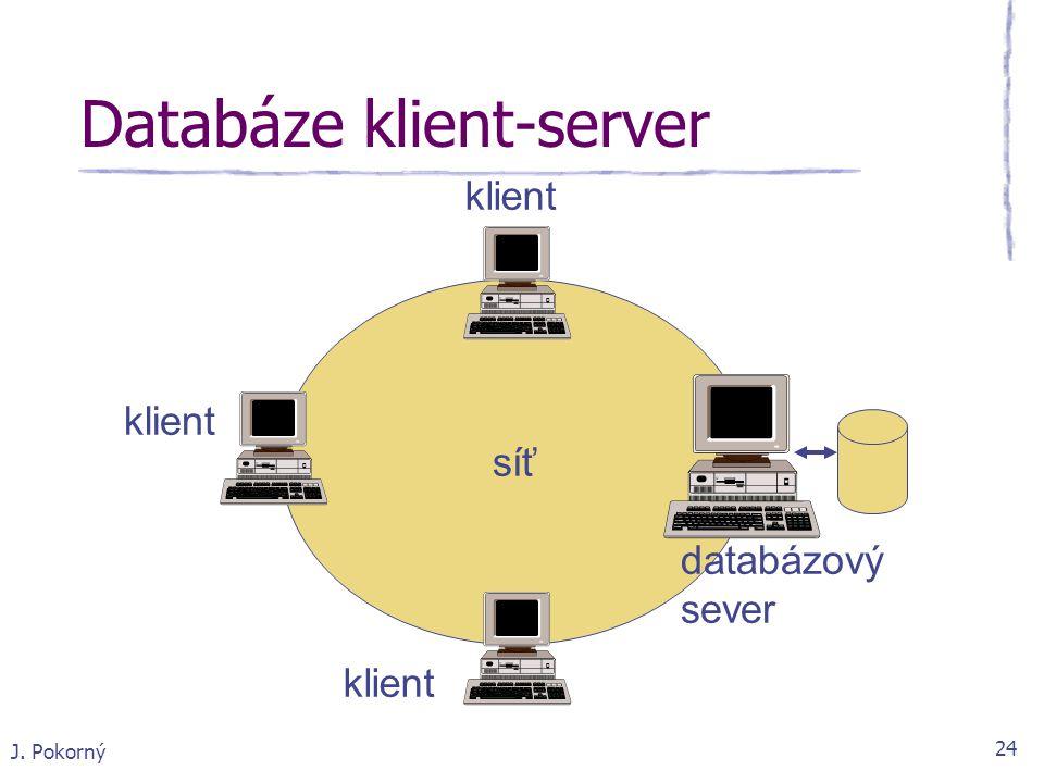 J. Pokorný 24 Databáze klient-server síť klient databázový sever
