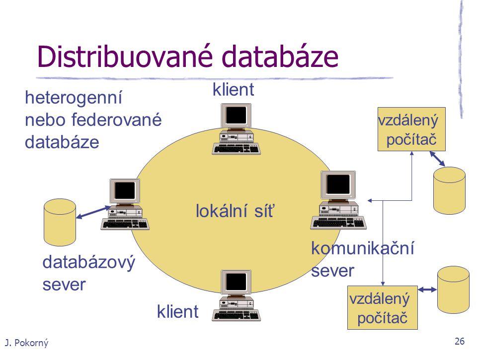 J. Pokorný 26 Distribuované databáze lokální síť databázový sever klient komunikační sever vzdálený počítač vzdálený počítač heterogenní nebo federova