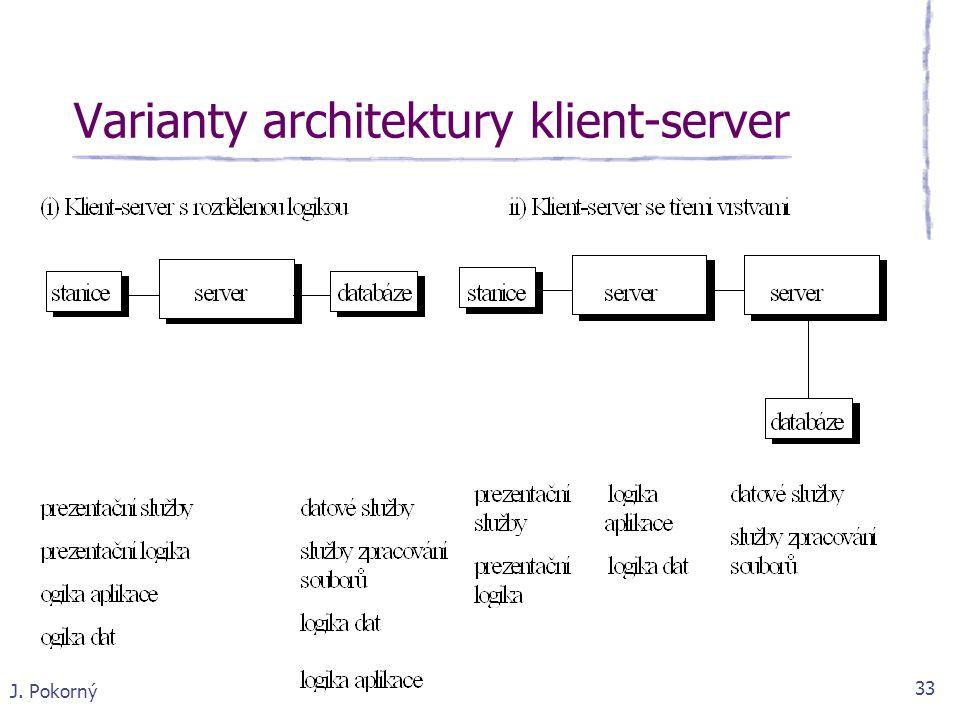 J. Pokorný 33 Varianty architektury klient-server