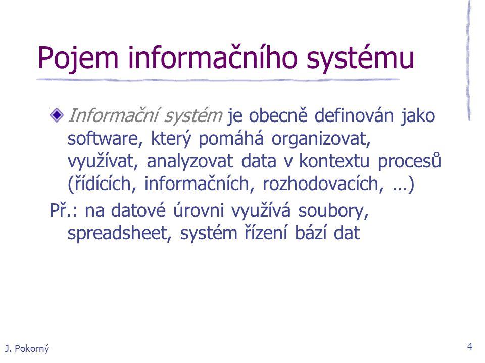 J. Pokorný 4 Pojem informačního systému Informační systém je obecně definován jako software, který pomáhá organizovat, využívat, analyzovat data v kon