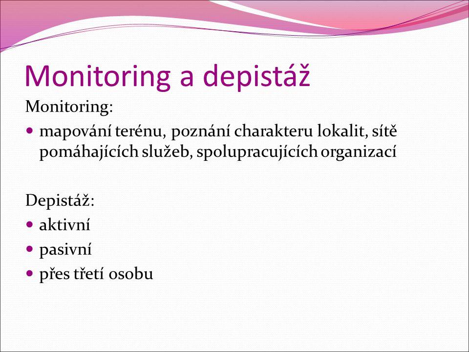 Monitoring a depistáž Monitoring: mapování terénu, poznání charakteru lokalit, sítě pomáhajících služeb, spolupracujících organizací Depistáž: aktivní
