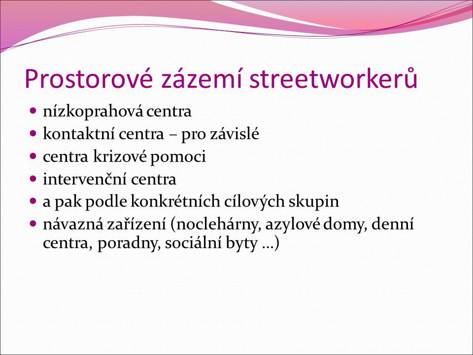 Prostorové zázemí streetworkerů nízkoprahová centra kontaktní centra – pro závislé centra krizové pomoci intervenční centra a pak podle konkrétních cí