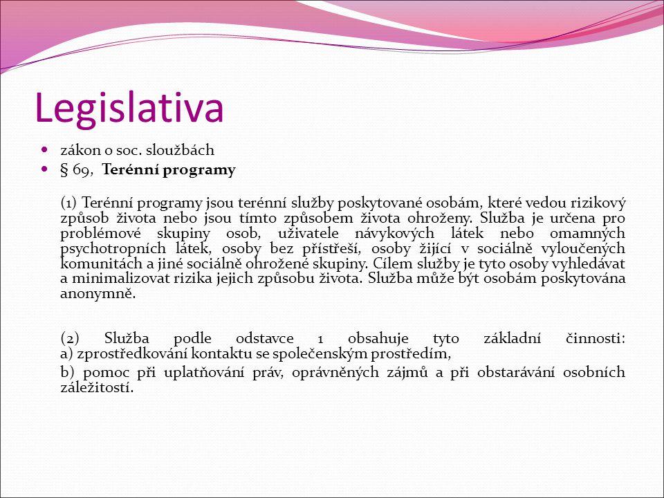 Legislativa zákon o soc. sloužbách § 69, Terénní programy (1) Terénní programy jsou terénní služby poskytované osobám, které vedou rizikový způsob živ